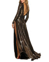 Plunge V-Neck Metallic Dress