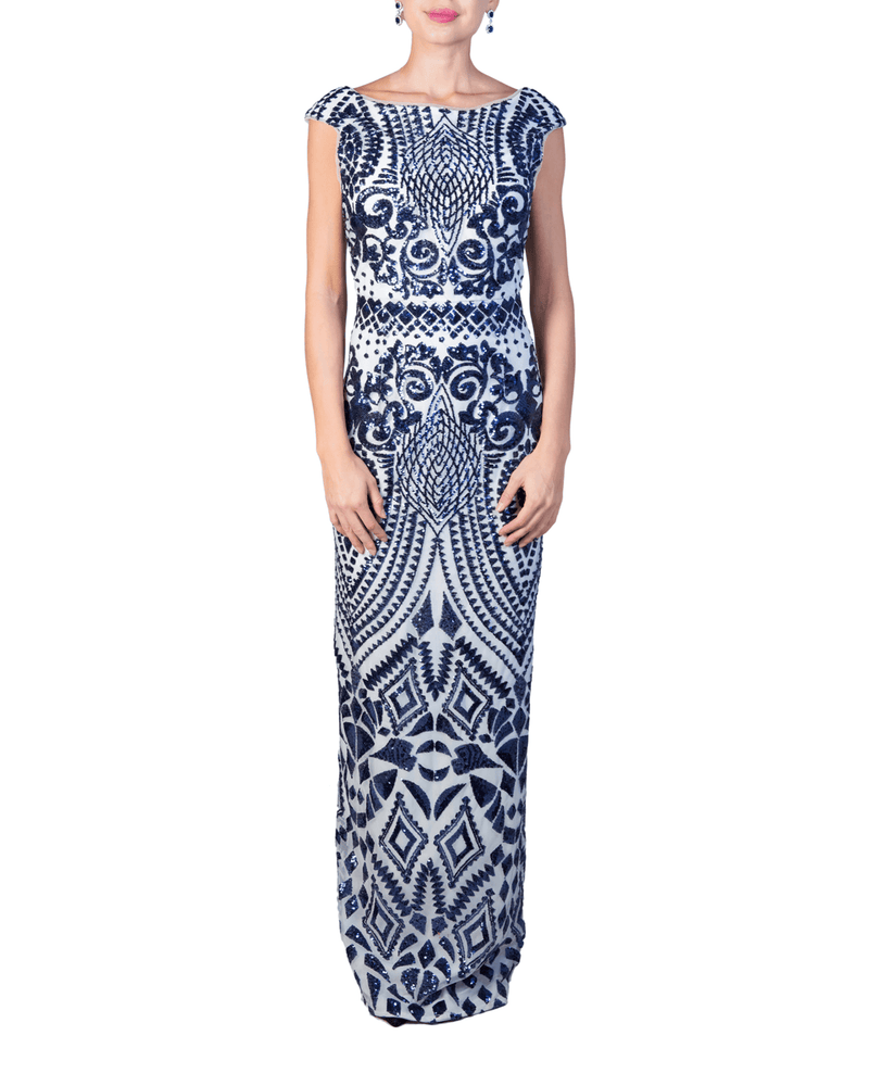 Patterned Sequin Gown - Bariano - Covetella Dress Rentals