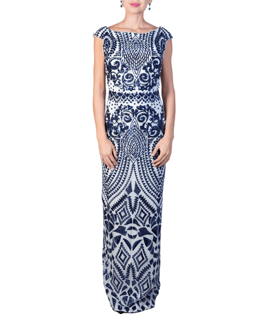 Patterned Sequin Gown by Bariano - Rent or Buy It at Covetella