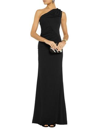 One-Shoulder Ruched Stretch Gown
