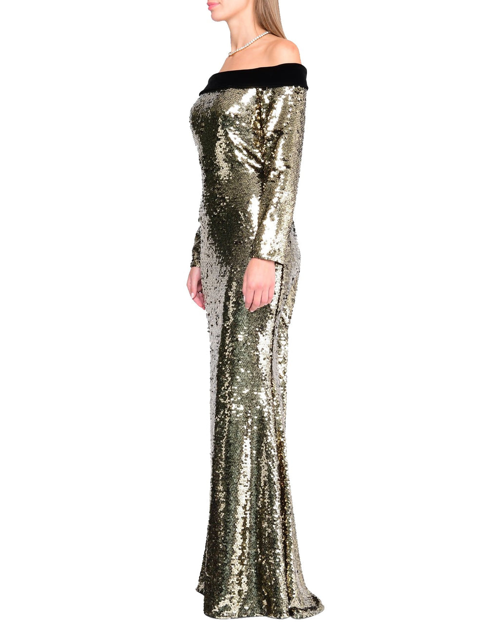 Long Sleeve Off-Shoulder Sequin Gown