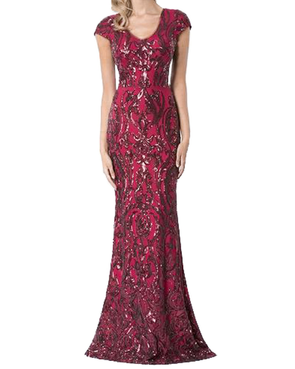 Patterned Cap Sleeve Sequin Gown