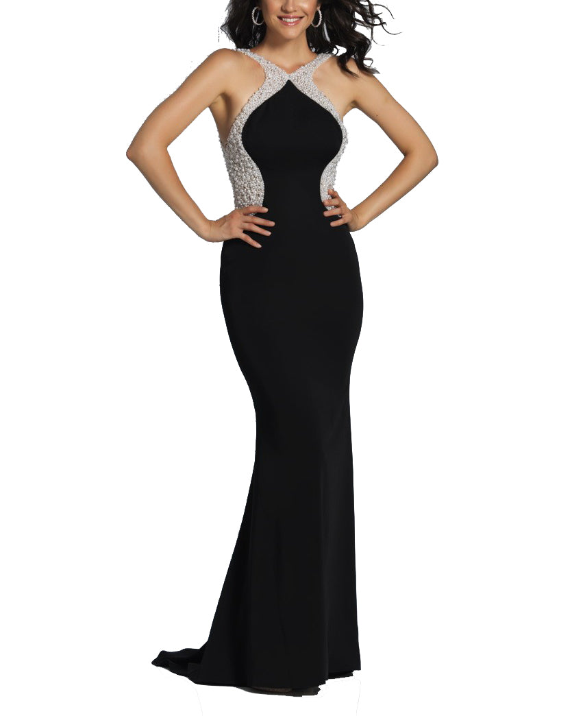 Pearl Beaded Color Block Gown