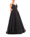 Floral Lace Black Ball Gown