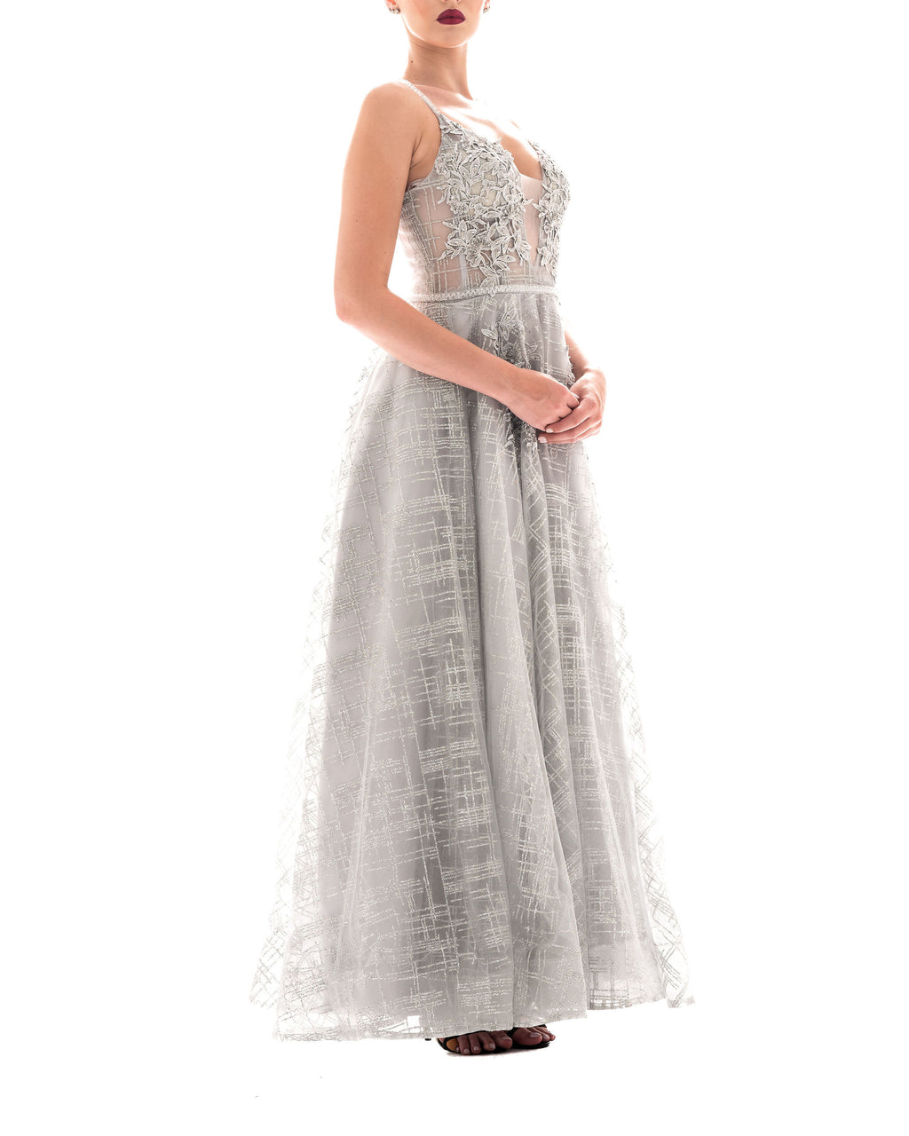 Floral Lace Grey Ball Gown