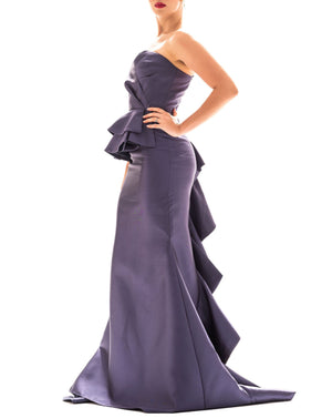 Navy Blue Ruffle Gown