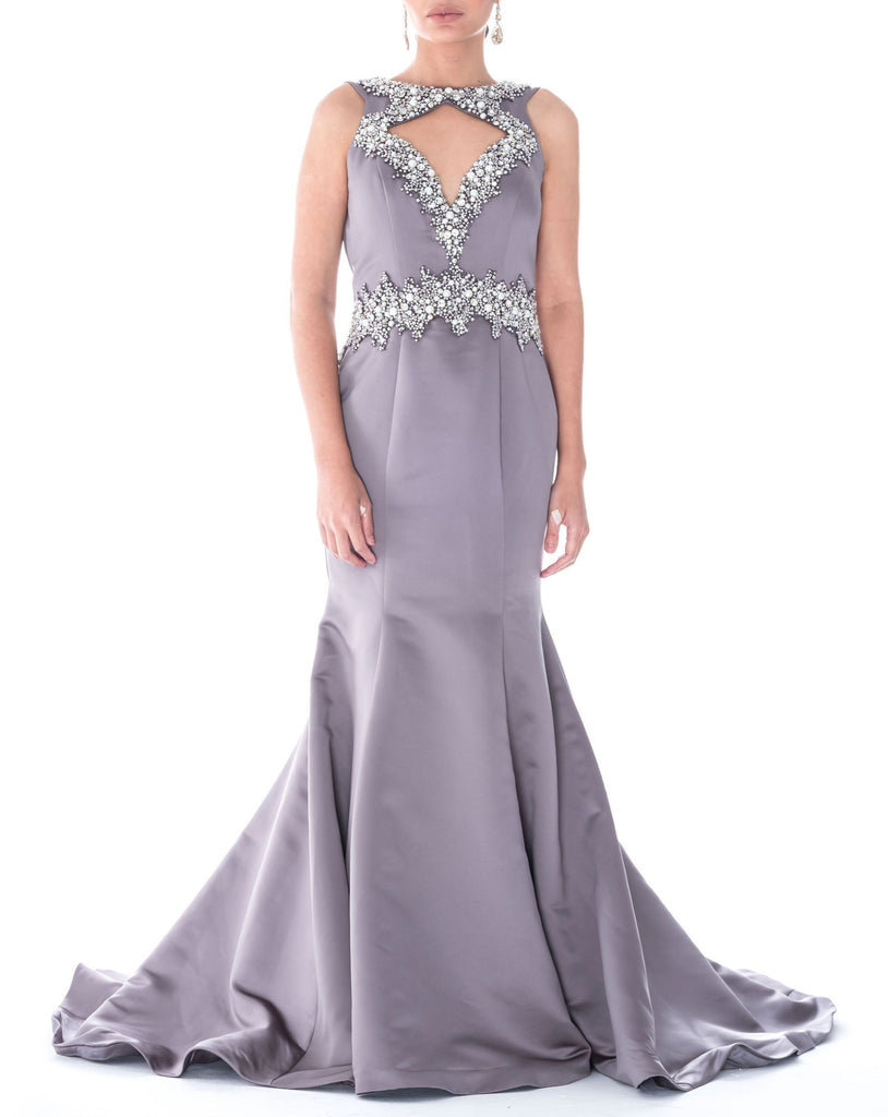 Embellished Cut-Out Mermaid Gown