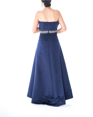 Strapless Pleated Bodice Gown