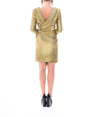 Gold Ruched Lamé Mini Dress