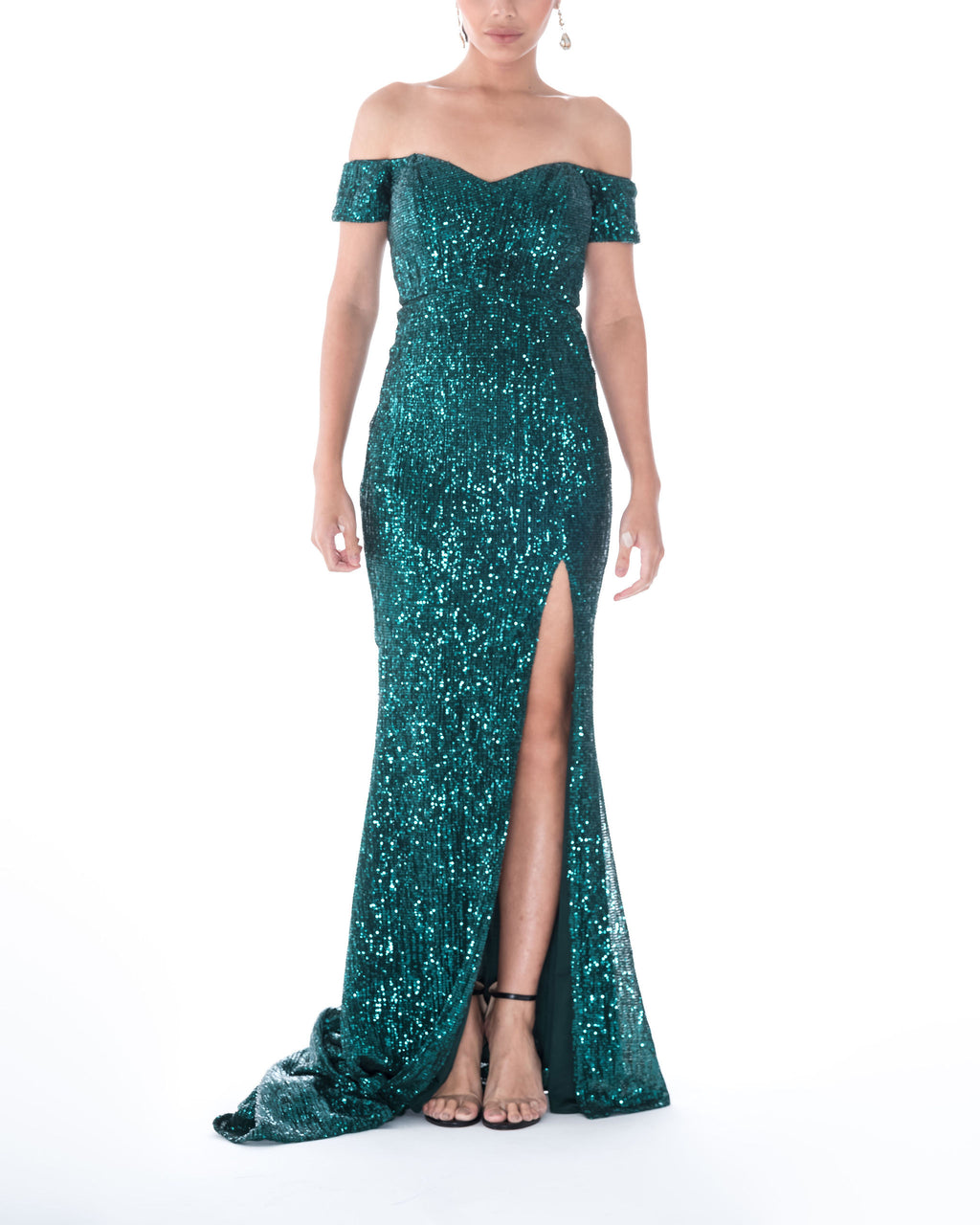 Off Shoulder Sequin High-Slit Gown