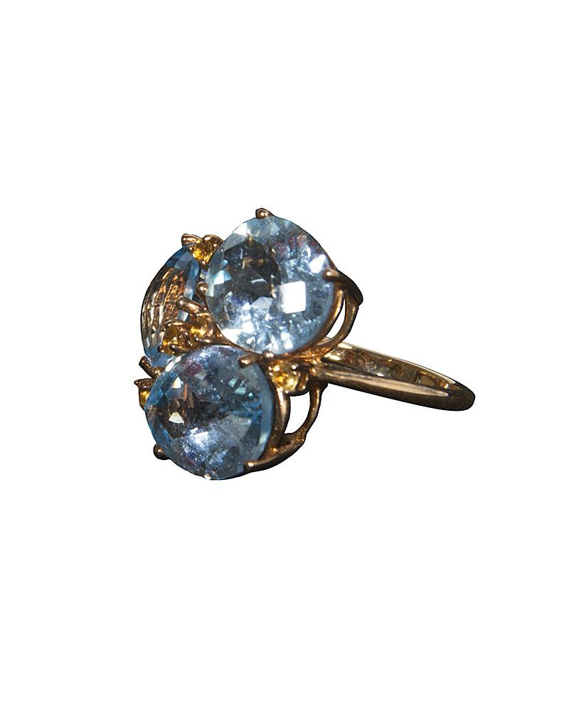 Blue Faux Crystal Ring - Jolie - Covetella Dress Rentals