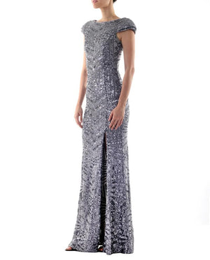 Cap Sleeve High-Slit Silver Sequin Gown - Bariano - Covetella Dress Rentals