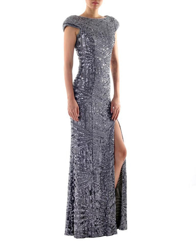 Cap Sleeve Silver Sequined Gown by Bariano - Rent or Buy It at Covetella
