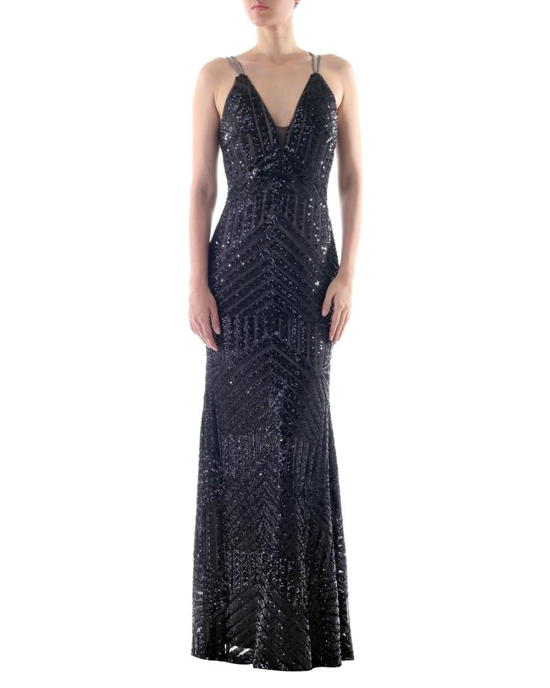 V-Neck Strapped Sequined Gown by Bariano - Rent or Buy It at Covetella