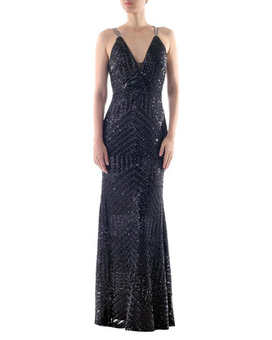 Crossover Straps Sequin Gown - Bariano - Covetella Dress Rentals