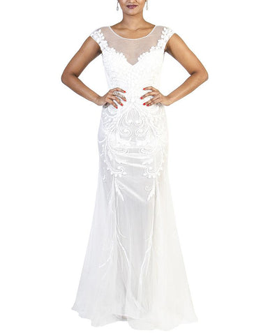 Cap-Sleeve Bridal Beaded Gown - Privé - Covetella Dress Rentals