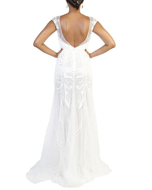 Cap-Sleeve Bridal Beaded Gown - Prive - Covetella Dress Rentals