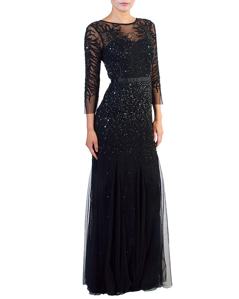 Illusion Sequined Multi Layer Gown - Adrianna Papell - Covetella Dress Rentals