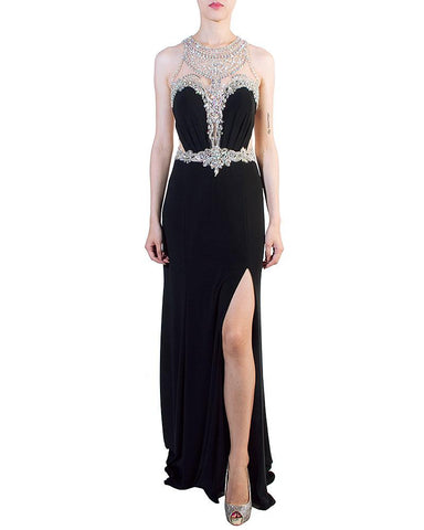 Crystal Beaded Illusion Gown - F.I.E.S.T.A. Fashion - Covetella Dress Rentals