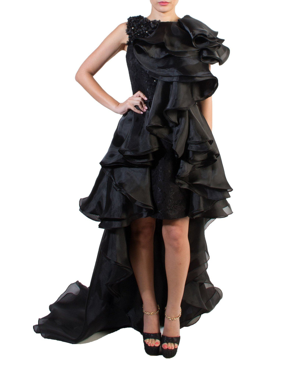 Exaggerated Ruffle Gown - Prive - Covetella Dress Rentals