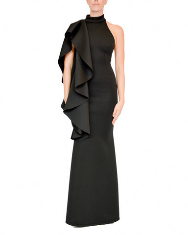 Halter One-Shoulder Flounce Gown by Prive - Rent or Buy It at Covetella