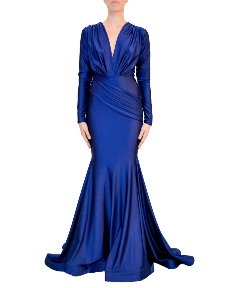 Long Sleeve Ruched Mermaid Gown - Jessica Angel - Covetella Dress Rentals