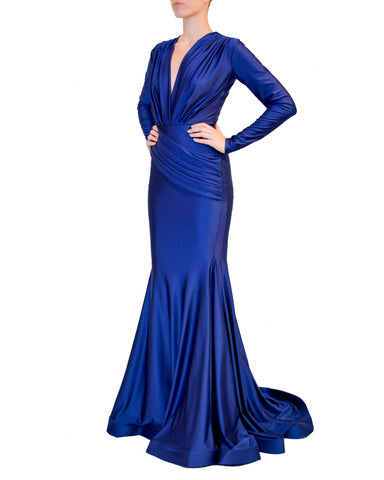 Long Sleeve Ruched Mermaid Gown by Jessica Angel - Rent or Buy It at Covetella