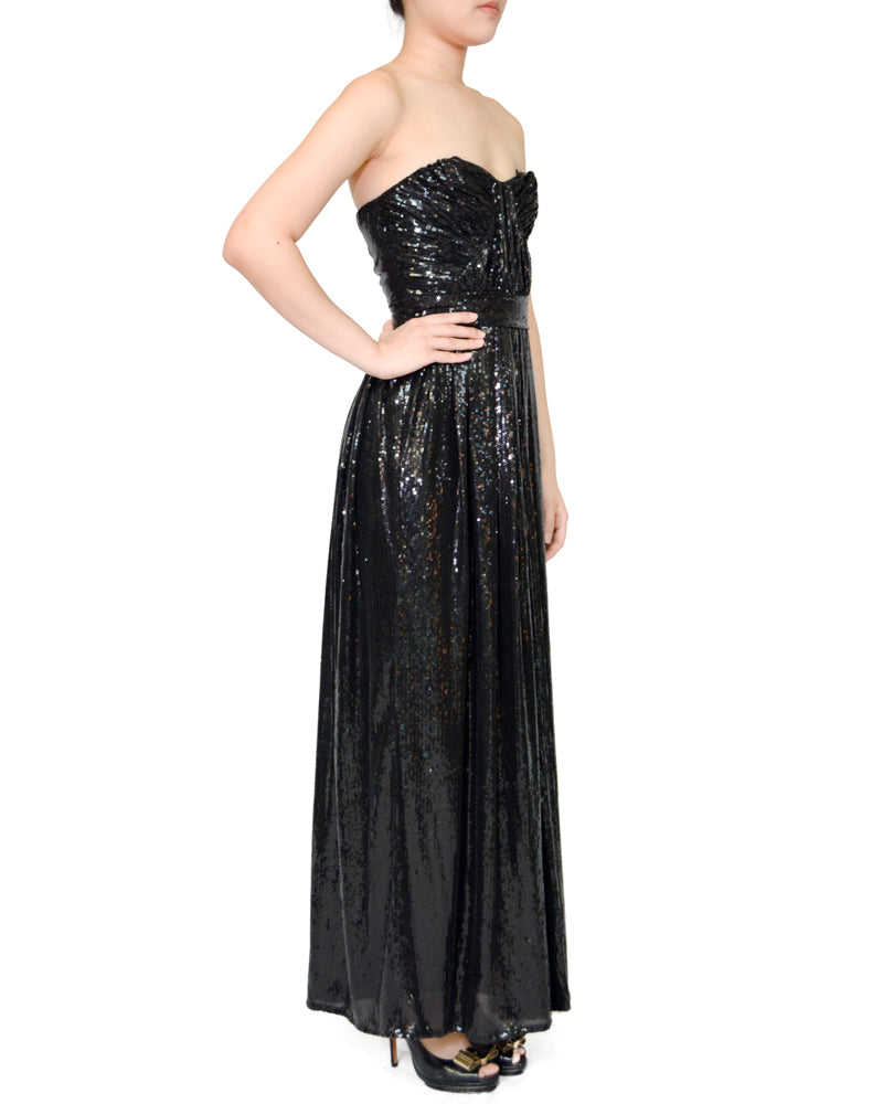 Strapless Ruched Sequin Sweetheart Gown