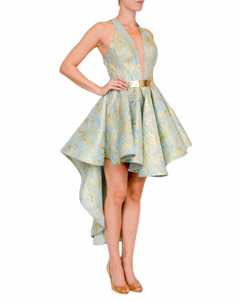 Festive High-Low Printed Gown - Jessica Angel - Covetella Dress Rentals