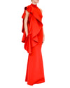 Halter One-Shoulder Flounce Gown - Beauty - Covetella Dress Rentals