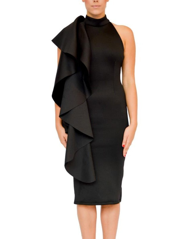 Halter One-Shoulder Flounce Dress - Beauty - Covetella Dress Rentals