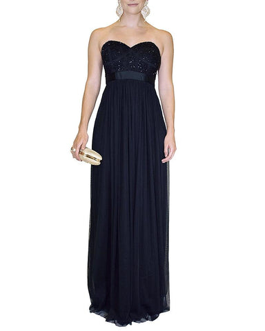 Strapless Embellished Empire Waist Gown - George - Covetella Dress Rentals