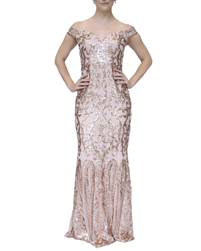 Off-Shoulder Sweetheart Sequin Gown by Bariano - Rent or Buy It at Covetella