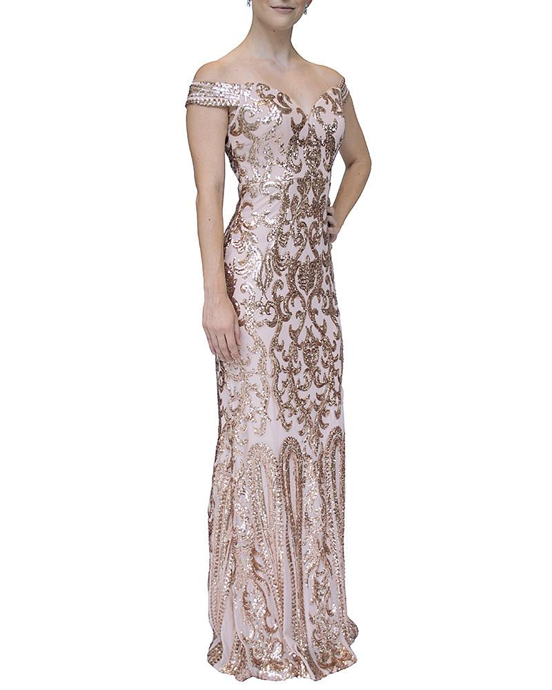 Off-Shoulder Sweetheart Sequin Gown - Bariano - Covetella Dress Rentals