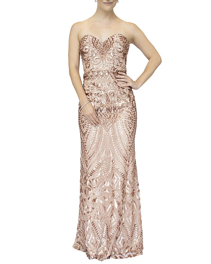 Strapless Sequined Sweetheart Gown by Bariano - Rent or Buy It at Covetella