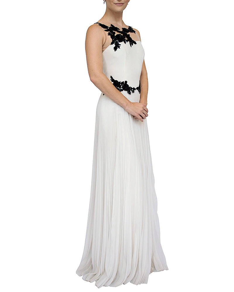 Contrast Floral Beaded Gown - Marchesa Notte - Covetella Dress Rentals