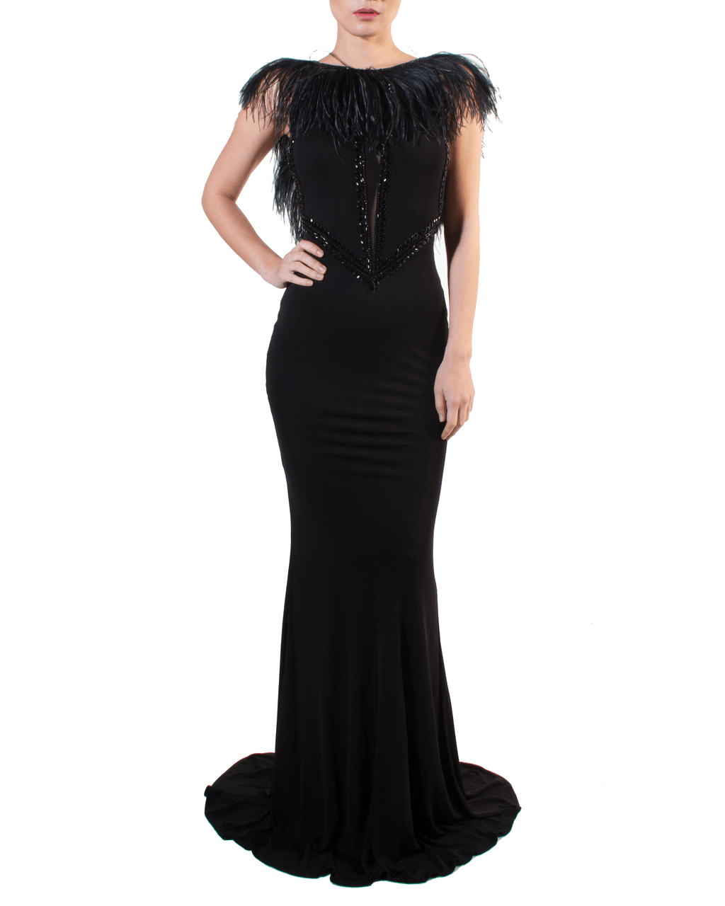 V-Back Jeweled Feather Tail Gown by Espen Salberg - Rent or Buy It at Covetella