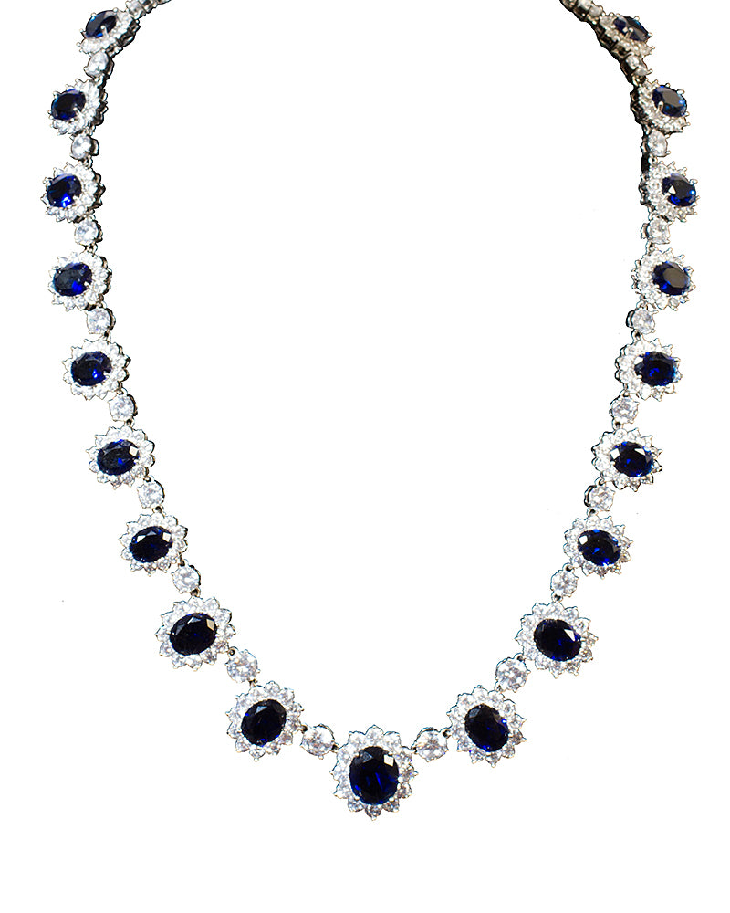 Blue Gemstone Necklace - Jolie - Covetella Dress Rentals