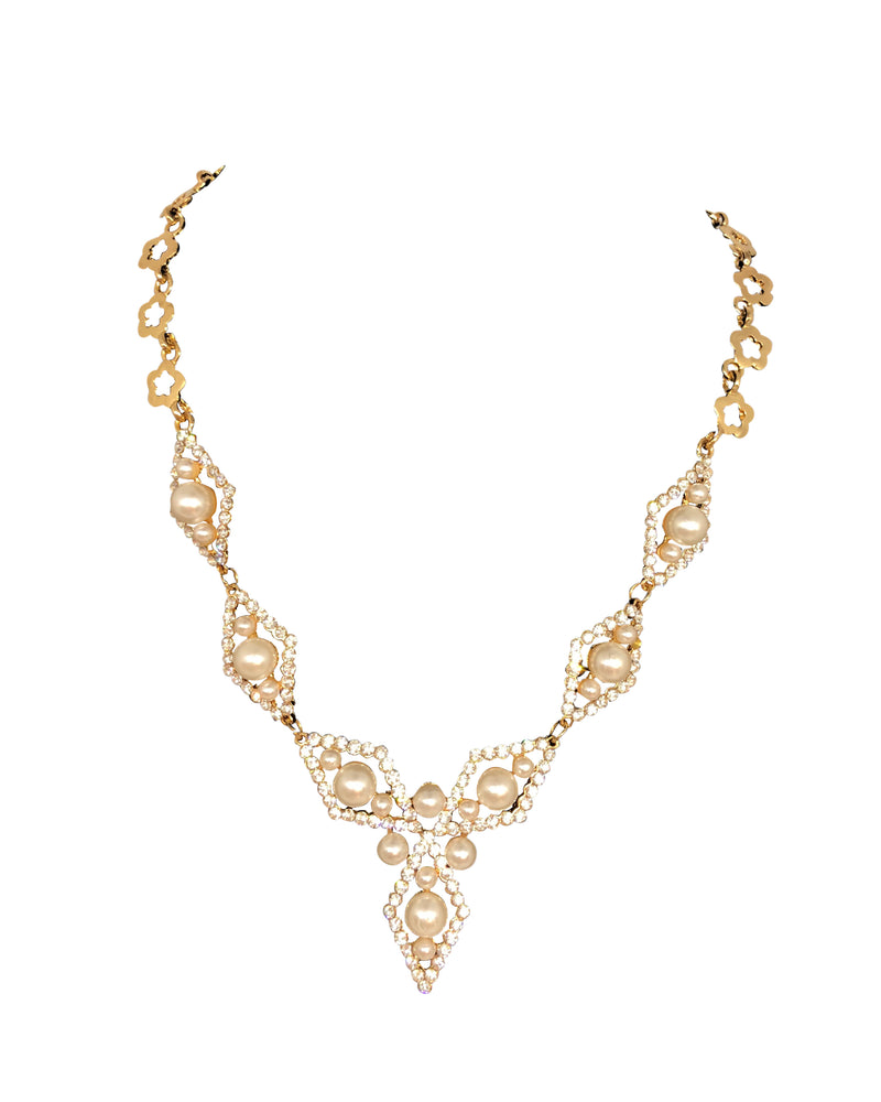 Diamond Pearl Gold Necklace