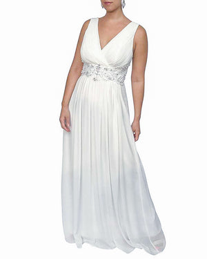Pleated V-Neck Beaded Gown