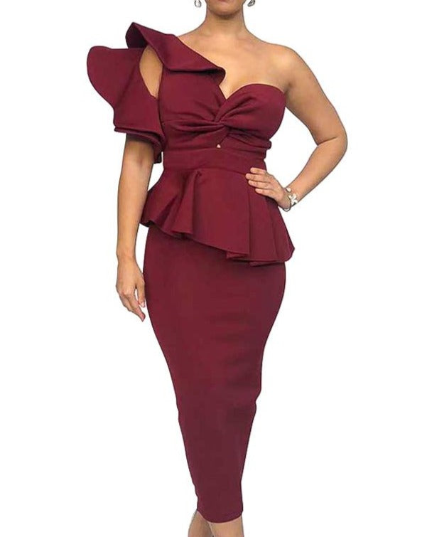 Dramatic One Shoulder Red