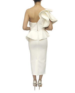 Dramatic One Shoulder White Skirt Top