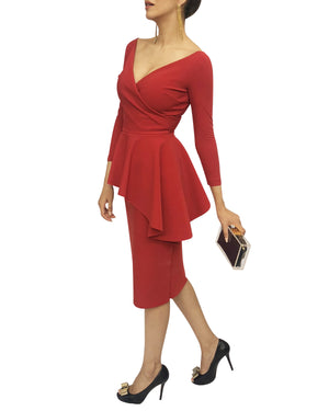 Asymmetrical Peplum V-Neck Midi Dress