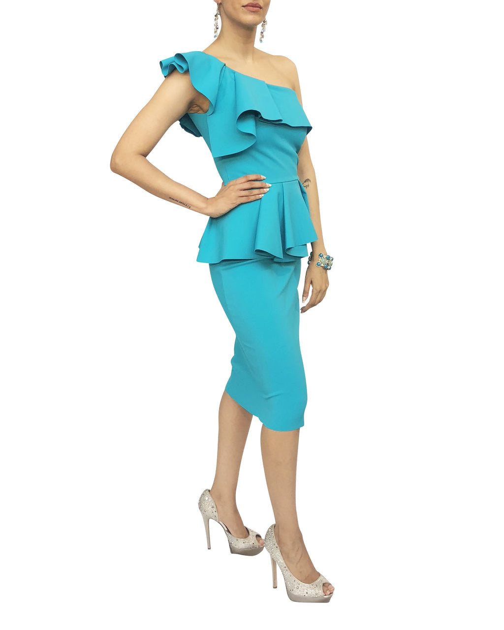 One-Shoulder Frill Peplum Dress