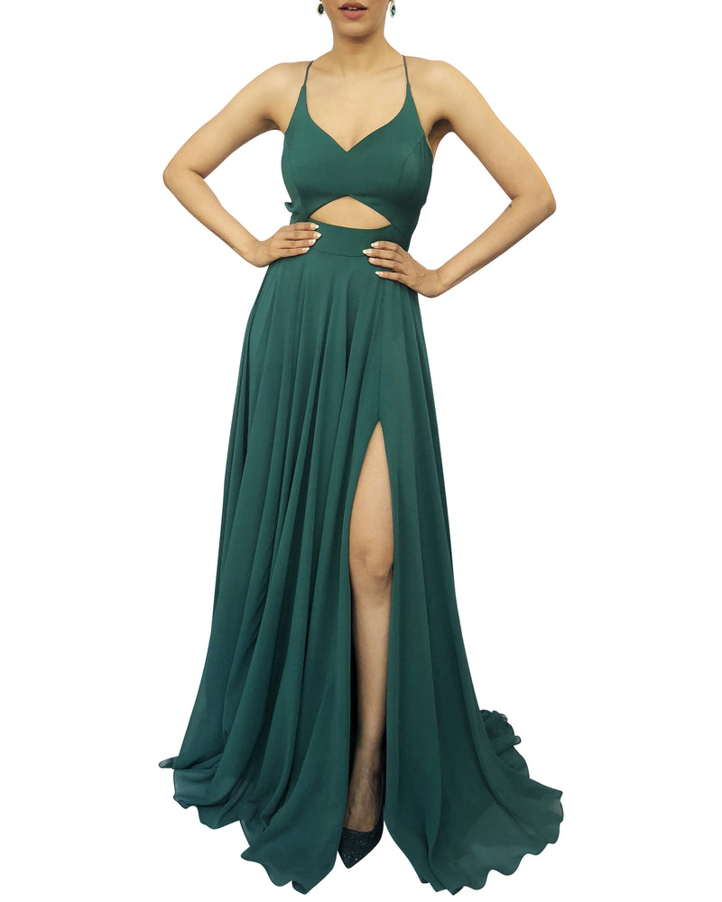 Forest Green High-Slit Gown