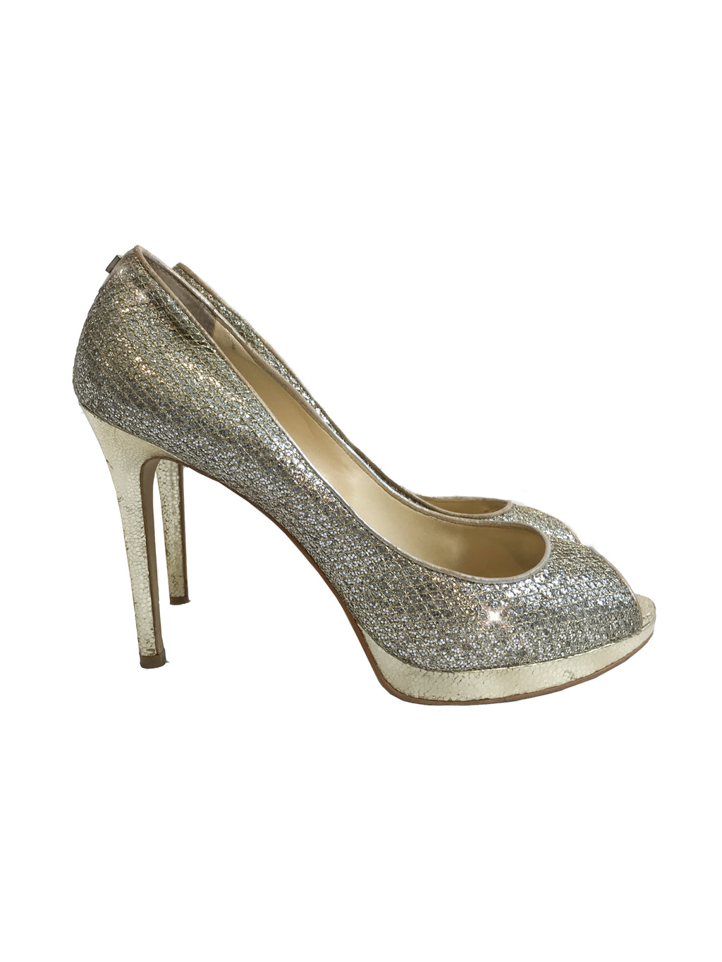 Gold & Silver Peep Toe Heels - Ivanka Trump - Covetella Dress Rentals