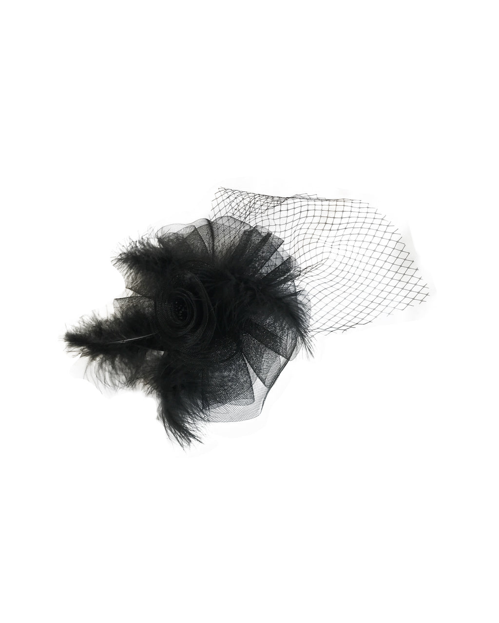 Feather Rose Net Hat - Jolie - Covetella Dress Rentals