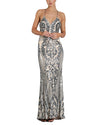Royale Patterned Sequin Column Gown - Bariano - Covetella Dress Rentals