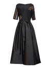 Short Sleeve Taffeta Ball Gown with Leaf Beaded Bodice