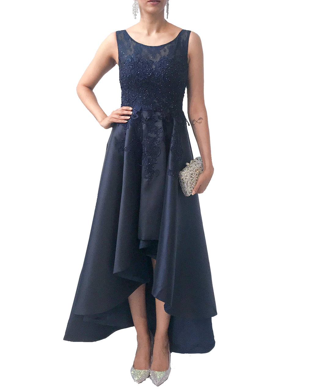 Lace Embroidered High Low Draped Gown - Prive - Covetella Dress Rentals
